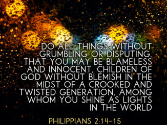 Do all things without grumbling or disputing, that you may be blameless and innocent, children of God without blemish in the midst of a crooked and twisted generation, among whom you shine as lights in the world - Philippians 2:14-15